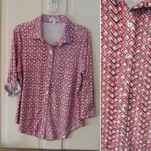 NWOT Retro Geometric Tabbed-Sleeve Button-Down